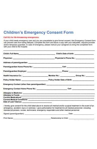 children emergency consent form