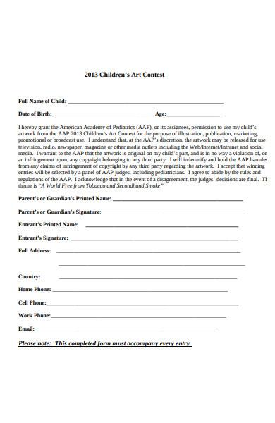 childrens art contest registration form