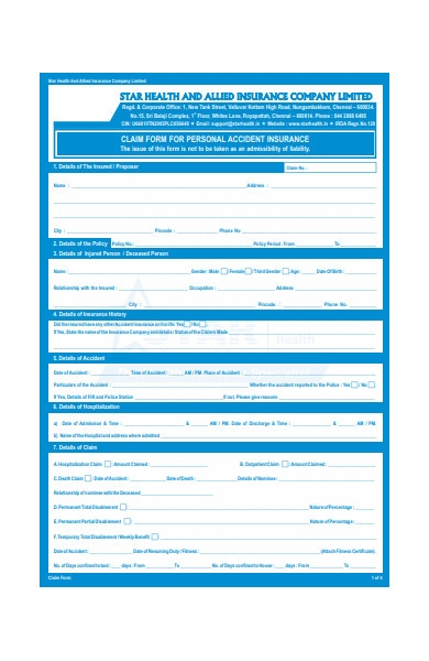 claim form for personal accident insurance