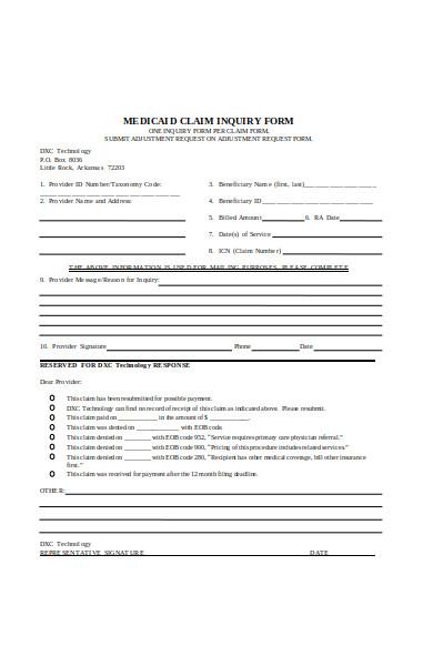 claim inquiry form