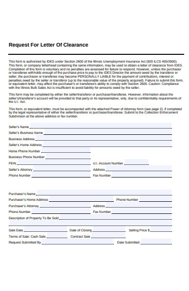 clearance letter form