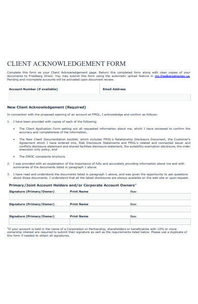 client acknowledgement form