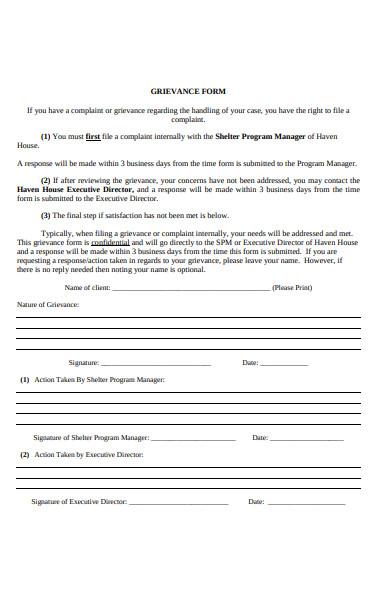 client grievance form