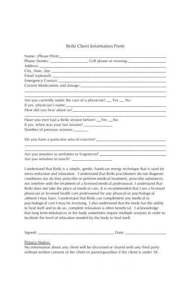 client information forms