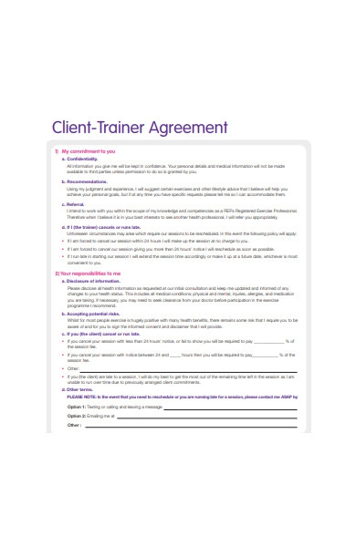 client trainer agreement form