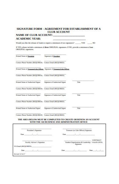 club account agreement form