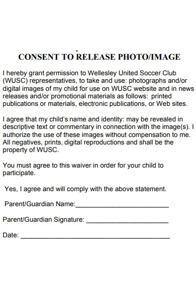 club photo release form