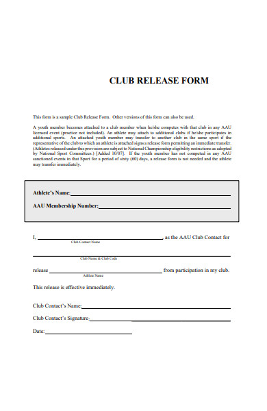 club release form