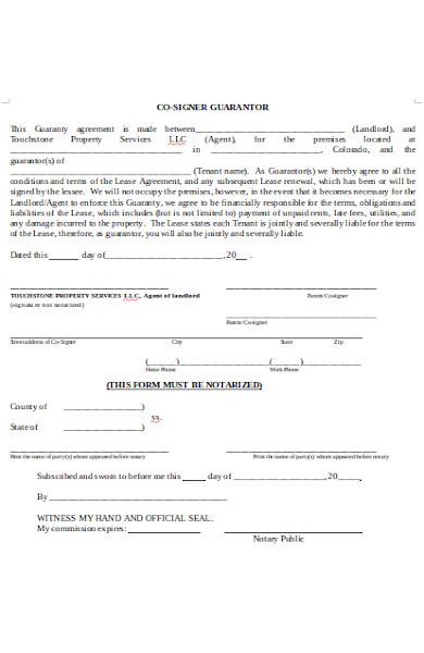 co signer guarantor form