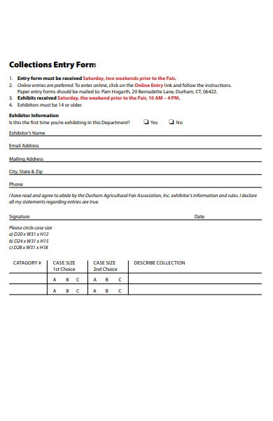 collection entry form