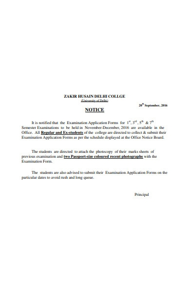 college notice form