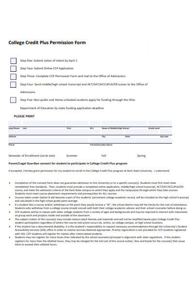 college permission form