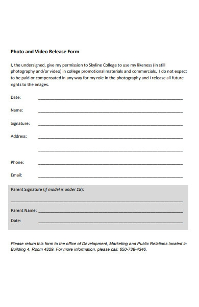 college photo release form