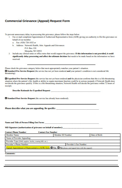 commercial grievance form