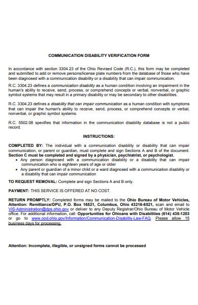 communication disability verification form