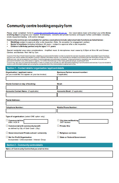 community centre booking enquiry form