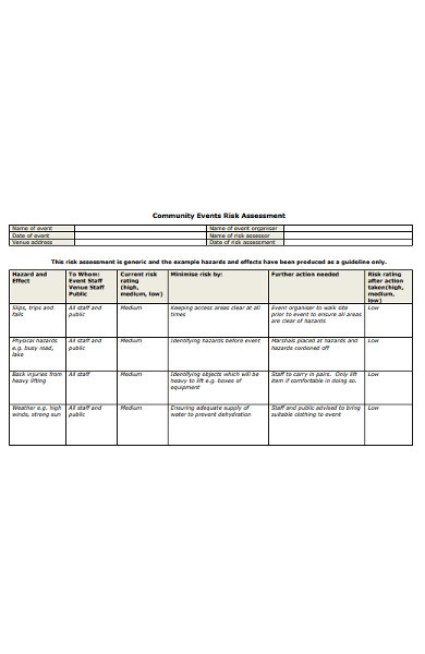 community events risk assessment form