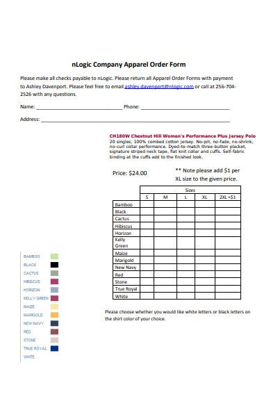 company apparel order form
