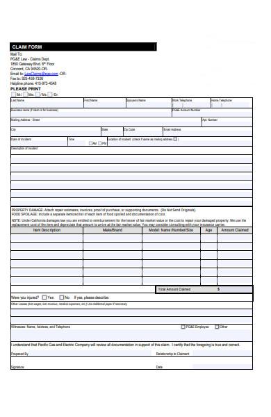 company claim form