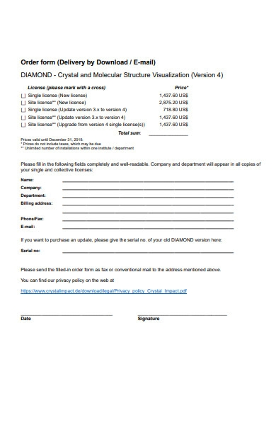 company delivery form