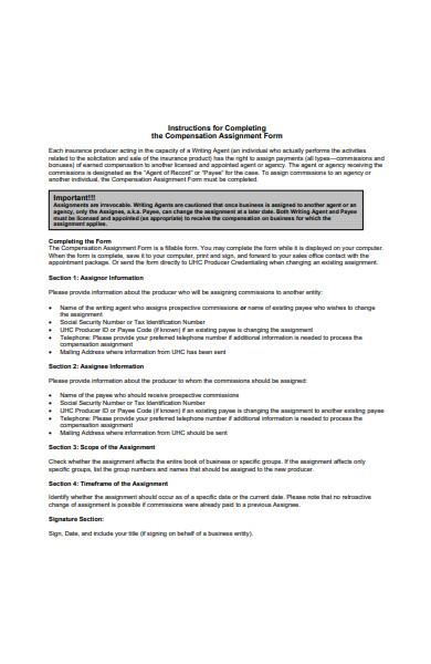 compensation assignment form
