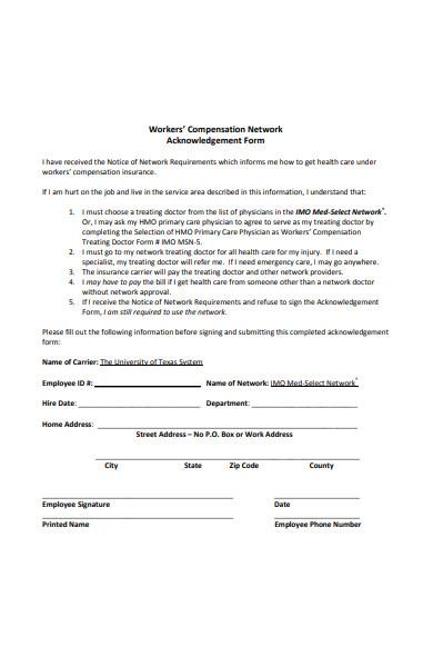 compensation network acknowledgement form