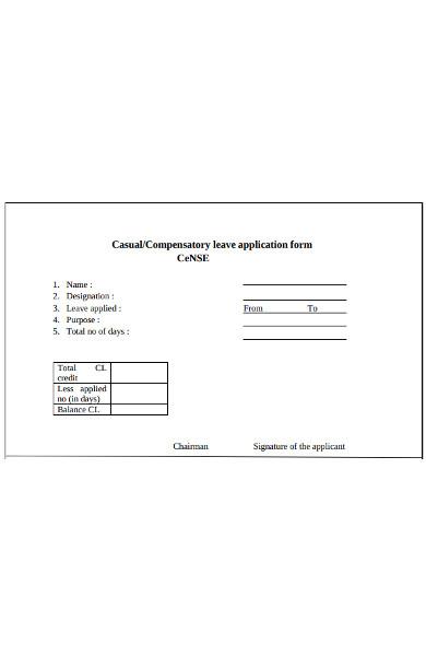 compensatory leave application form