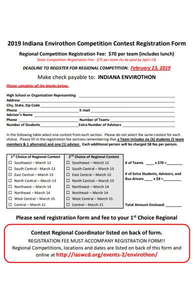 competition contest registration form