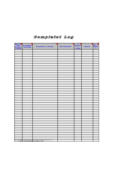 complaint log form