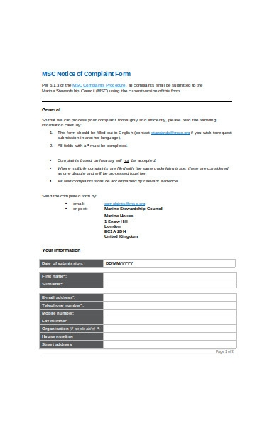 complaint notice form