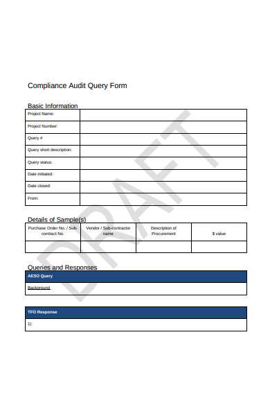 compliance audit query form