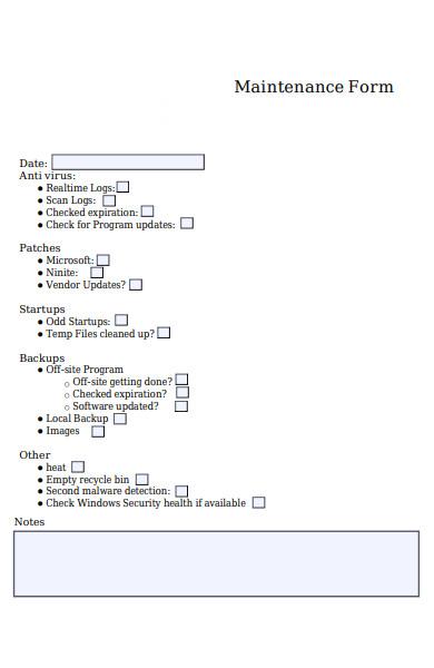 computer maintenance form