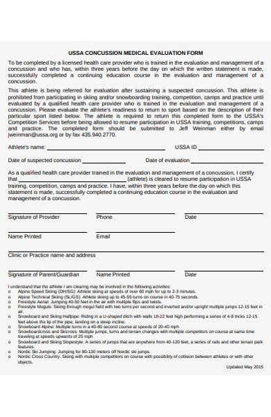 concussion medical evaluation form