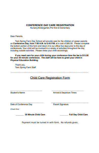 conference day care registration form
