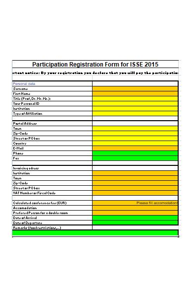 conference fee registration form