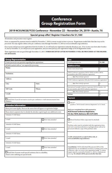 conference group registration form