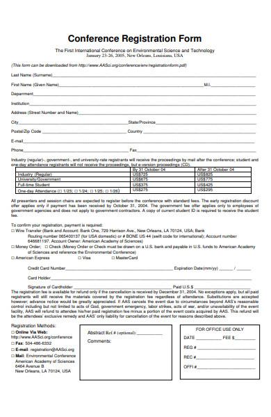 conference online registration form