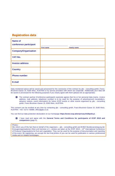 conference participants registration form