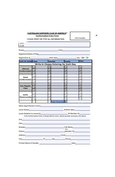 conformation entry form