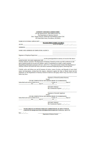 consent and disclaimer form template