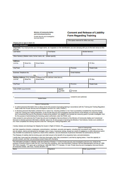 consent and release of liability form