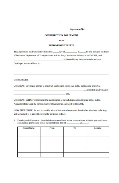 construction agreement form