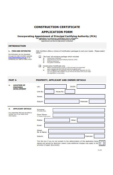 construction details form