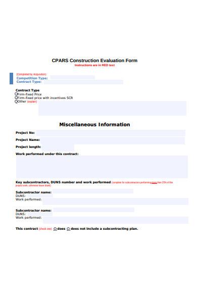 construction evaluation form