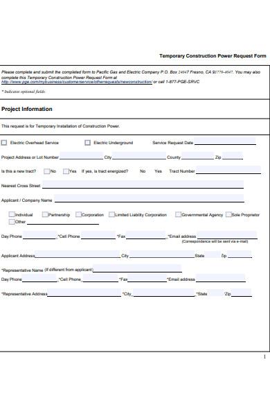 construction power request form