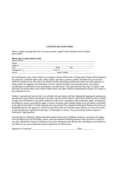 contest release form