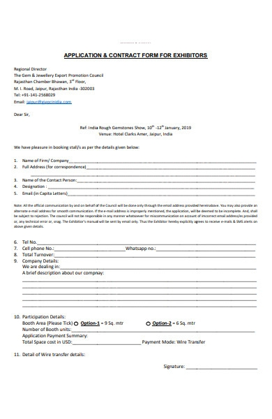 contract application form