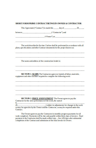 contract short form