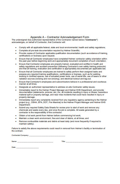 Free 52  Acknowledgement Forms In Pdf