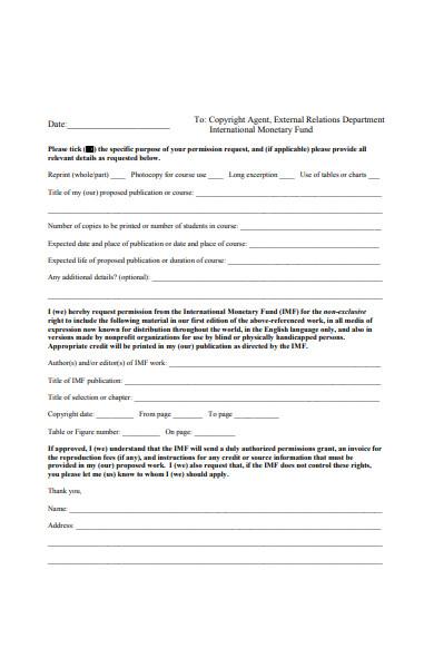 copy right permission form